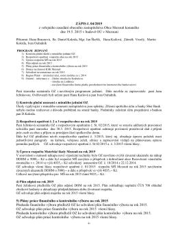 Zápis č. 4/2015 z veřejného zasedání zastupitelstva obce Mezouň