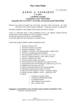 Zápis a usnesení ZO 14.12.2015