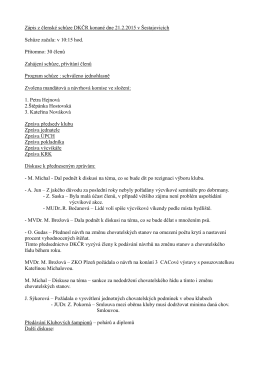 Zápis z členské schůze DKČR konané dne 21.2.2015 v