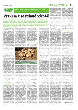 Výzkum v rostlinné výrobě - Česká akademie zemědělských věd