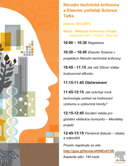 Invitation for Elsevier Science Talks April 30 2015