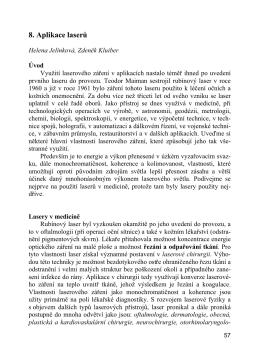 kap. 8. Jelínková, H. - Kluiber, Z.: Aplikace laserů