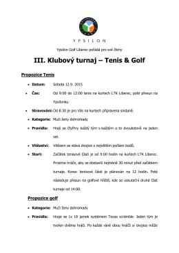 III. Klubový turnaj – Tenis & Golf