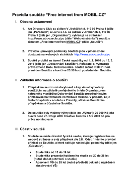 """Pravidla soutěže """"Free internet from MOBIL.CZ"""" I"""