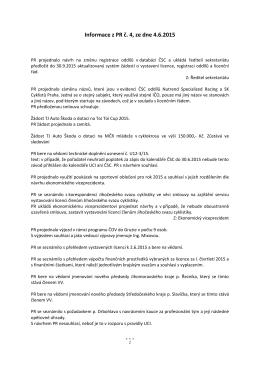 Informace z PR č. 4, ze dne 4.6.2015