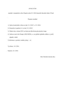 SVOLÁVÁM zasedání zastupitelstva obce Doupě na den 22.1.2016