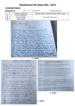 vyhodnocení PO očima dětí 2015