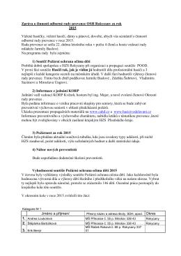 Zpráva o činnosti odborné rady prevence OSH Rokycany za rok