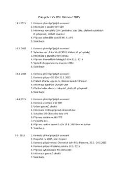 Plán práce VV OSH Olomouc 2015