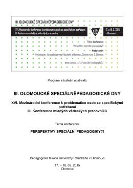 III. OLOMOUCKÉ SPECIÁLNĚPEDAGOGICKÉ DNY