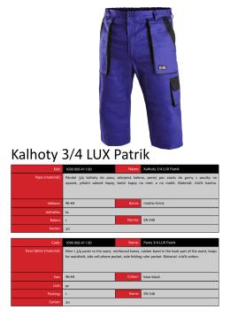 Kalhoty 3/4 LUX Patrik