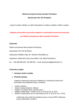 Dodávka OPO a OPP - Střední průmyslová škola stavební Pardubice