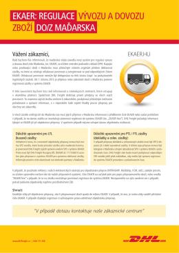 ekaer: regulace vývozu a dovozu zboží do/z maďarska