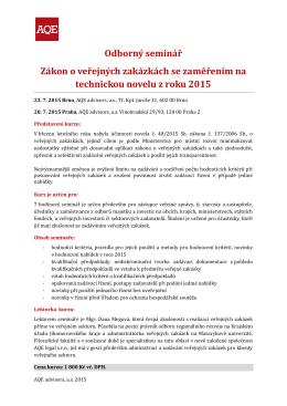 Odborný seminář Zákon o veřejných zakázkách se