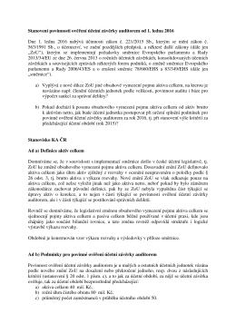 Stanovení povinnosti ověření účetní závěrky auditorem od 1. ledna