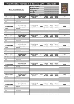 Výplatní listina rozhodčích BLMF