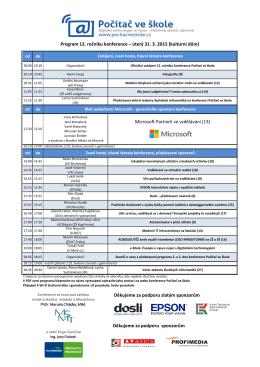 program 12. ročníku konference Počítač ve škole