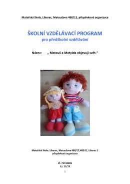 školní vzdělávací program - Mateřská škola Matoušova Liberec