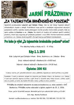 jarni prazdniny - podzemi Brna plakát web