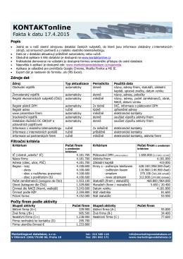 Fakta o databázi aktuální k datu 17.4.2015.