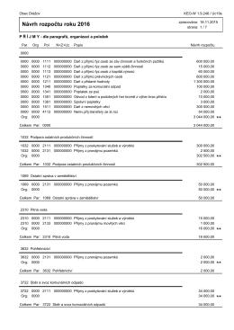 Návrh rozpočtu roku 2016