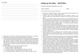 Omluvný list - Gymnázium Kroměříž