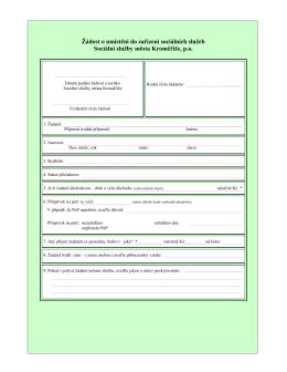 Žádost o přijetí do DOZP Barborka