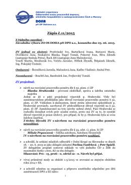 Zápis č. 11 ze dne 03.06. 2015