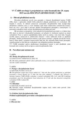 Návrhy novely Disciplinárního řádu ČABR