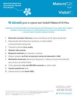 10 důvodu proč si vybrat test VisibiliT/MaterniT21 Plus