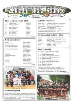 Základní informace Termíny prázdnin 2015 - 2016