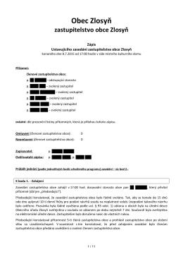 Zápis Ustavujícího zasedání zastupitelstva obce Zlosyň konaného