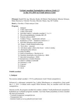 Veřejné zasedání Zastupitelstva městyse Liteň č. 5 ze dne 19.3