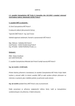 Z Á P I S z 3. zasedání Zastupitelstva MČ Praha 9, konaného dne