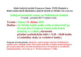 Klub českých turistů Francova Lhota Vás zve na