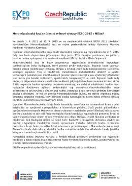 Moravskoslezský kraj se účastní světové výstavy EXPO 2015 v Miláně