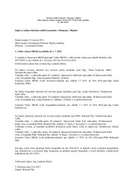 Zápis ze schůze ze dne 23. června 2015