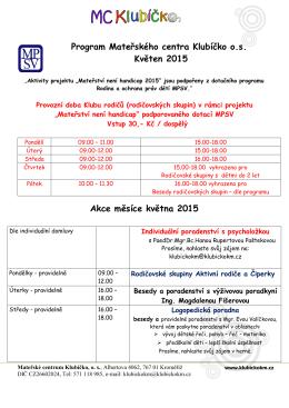 Program Mateřského centra Klubíčko o.s. Květen 2015 Akce měsíce