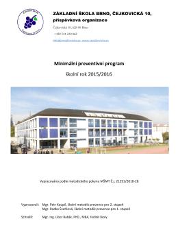 Minimální preventivní program školní rok 2015/2016