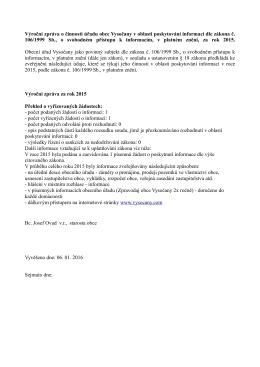 Výroční zpráva o činnosti úřadu obce Vysočany v oblasti