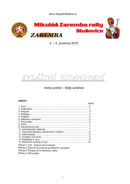 Zvláštní ustanovení  - Mikuláš Zaremba Rally Slušovice 2015
