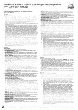 Všeobecné a zvláštní pojistné podmínky pro cestovní pojištění (VPP