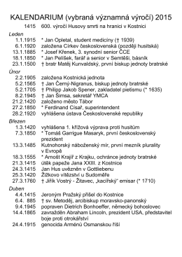 KALENDÁRIUM (vybraná historická výročí) VERITAS 2008