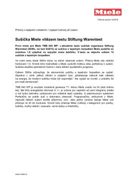 Sušička Miele vítězem testu Stiftung Warentest