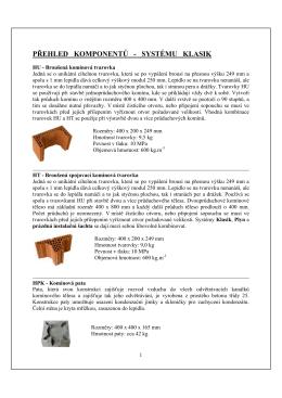 Přehled komínových komponentů systému KLASIK