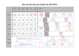 Rozvrh tělocvičny pro školní rok 2015/2016