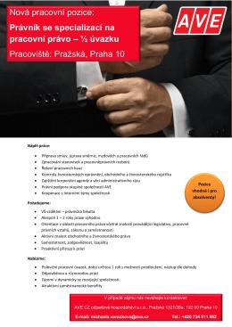 Nová pracovní pozice: Právník se specializací na pracovní právo