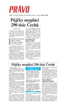 Právo | 16.3.2015 | Rubrika: Titulní strana | Strana: 1 | autor: Jindřich