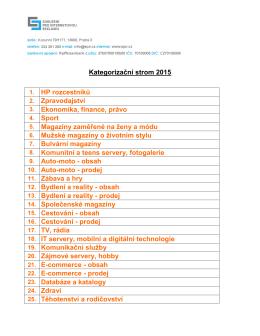 Kategorizační strom a definice jednotlivých kategorií