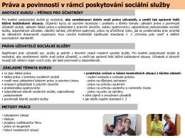 Práva a povinnosti v rámci poskytování sociální služby